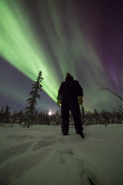 To shot the aurora during mid-winter in Alaska you need to dress warm!