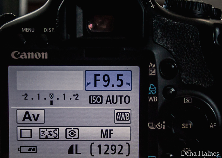 Aperture setting on canon LCD screen