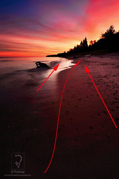 06 Leading Lines Composition Techniques Landscape Photography by Prathap Beautiful Sunrise in Lake Superior