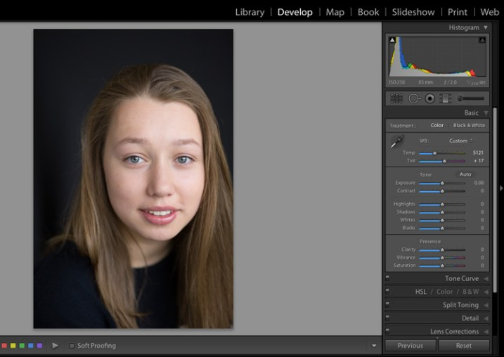 Image for basic portrait editing in Lightroom