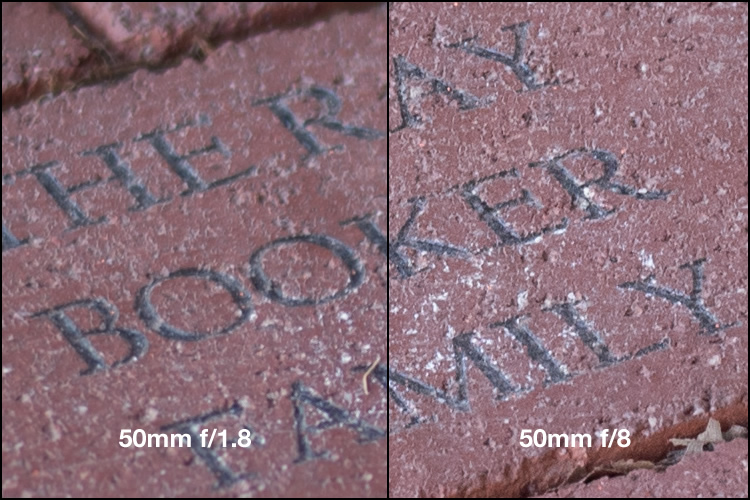 """Focus was locked precisely on the letter """"K"""" and yet the image on the left, shot at the widest aperture on my lens, is much less sharp."""
