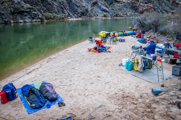 Sometimes you can carry a lot of gear, as you can see from this camp along the Colorado River in the Grand Canyon, but even here every pound has to be loaded and unloaded daily.