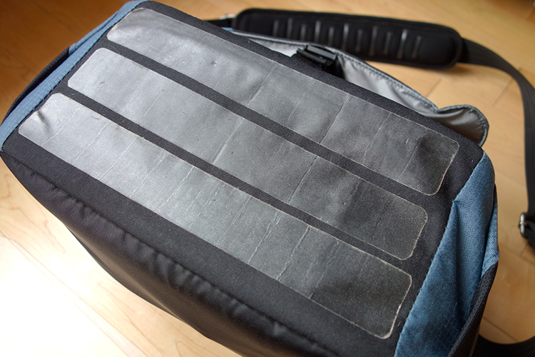 Image: I cut 3 strips of the tent repair tape to suit the dimensions of my camera bag.