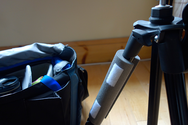 Image: The foam sleeve can be left on the tripod when in use to act as a cover.