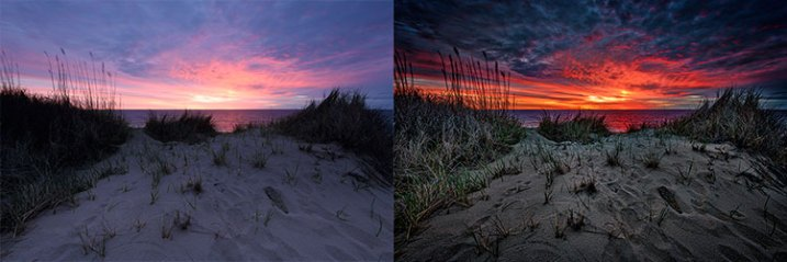 This side-by-side comparison shows what is possible when processing a RAW file. On the left is the image straight from the camera, using the Standard picture style. On the right, the same image processed in Adobe Camera RAW.