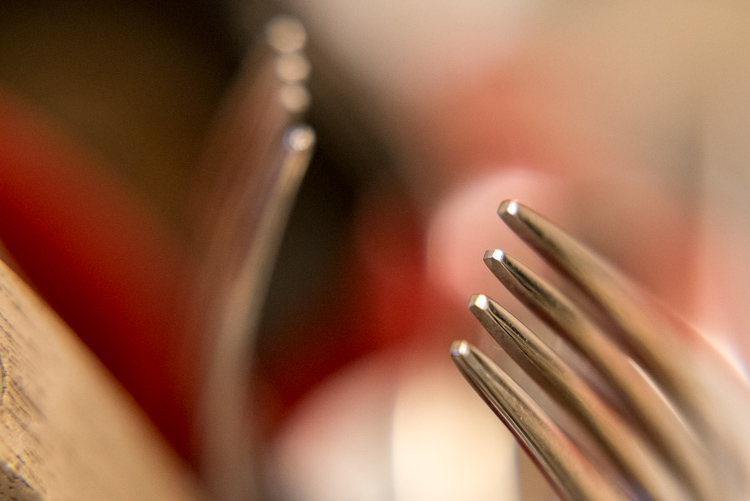 Even something as mundane as forks sitting in a dish rack can turn into a work of art when viewed up close.