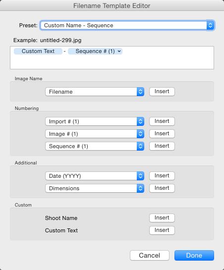File naming in lightroom 4