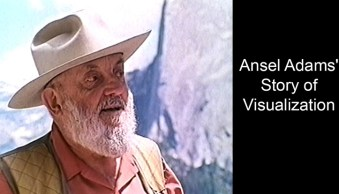 photograph of Ansel Adams in front of Half Dome in Yosemite National Park