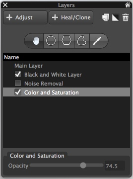 Layers contain a set of edits and can be made more or less opaque, and enabled or disabled at will.