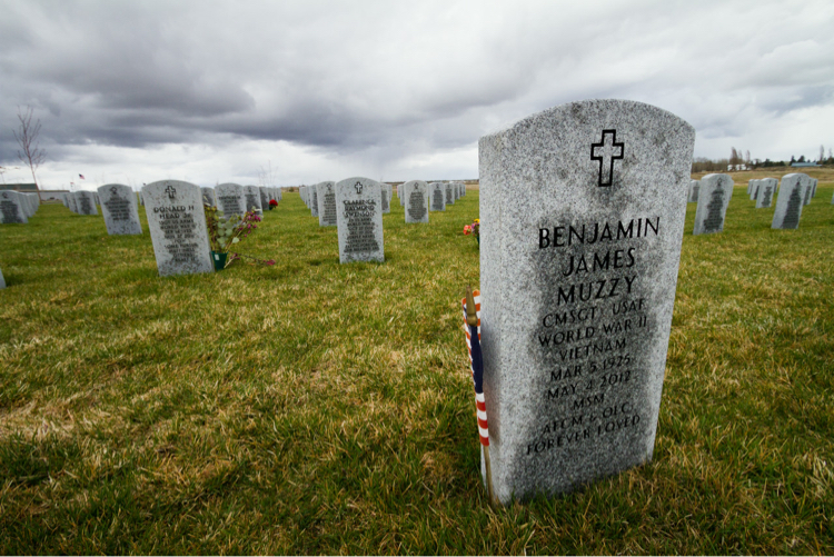 Military tombstones and flags located in Eastern Washington, USA
