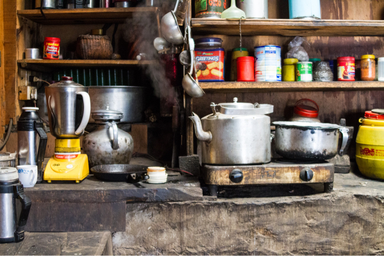 Buddhist monastery kitchen in Nepal