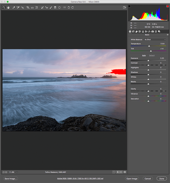 Image: The Camera Raw Editor in Adobe Photoshop CC