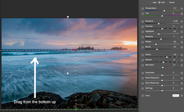 Image: Selecting the foreground by dragging from the bottom up.