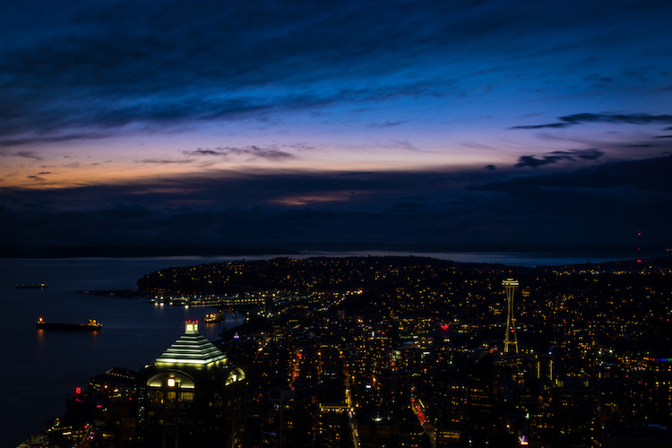 I used Shutter Priority with a value of 30 seconds to get this shot of the Seattle skyline from the Columbia Tower Observation Deck.