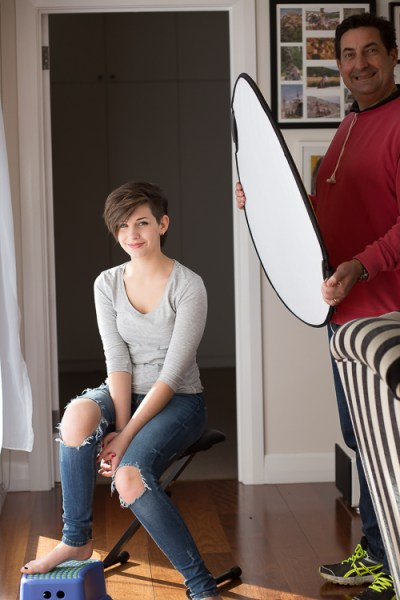 natural light portrait setup reflector and assistant