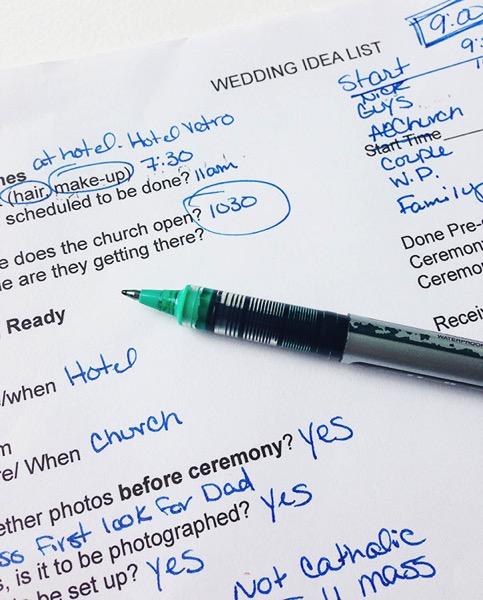 Wedding idea list for photographers