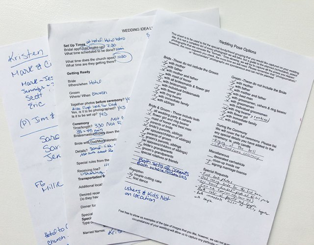 Wedding planning worksheets photogfaphers examples
