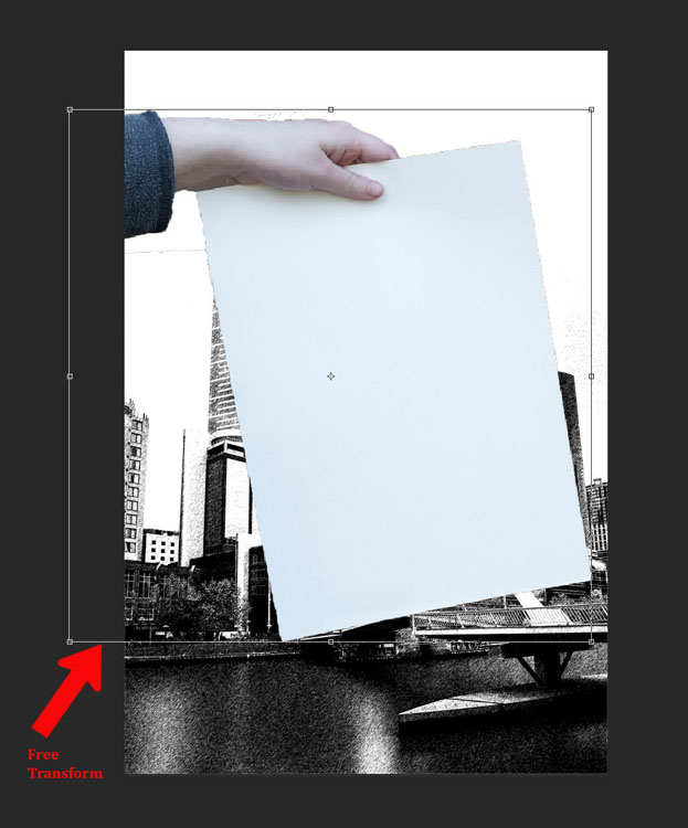 How to Make a Sketch inside a Photograph - transform tool
