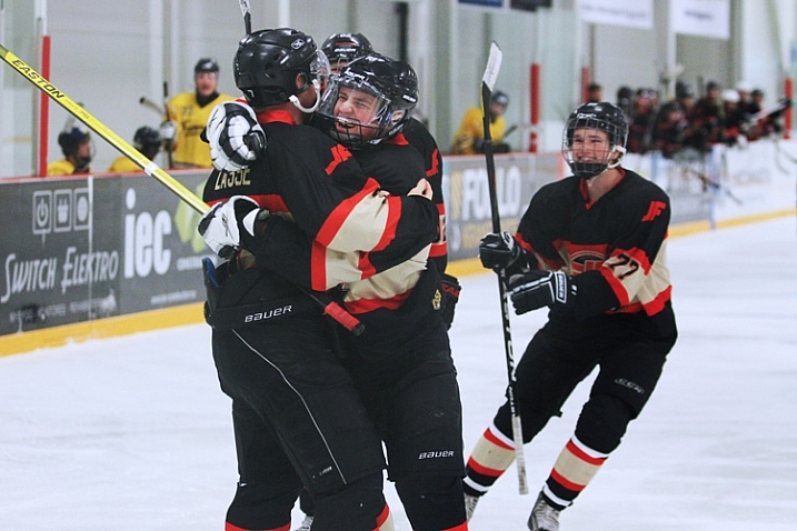 Image of hockey players celebrating on the ice after a goal