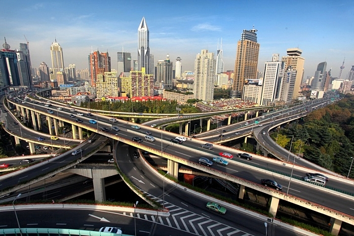 This is a wide angle photo of a famous road junction in Shanghai.