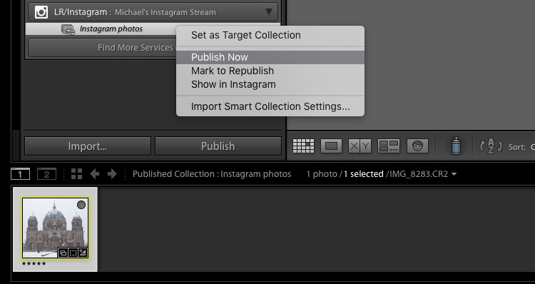 Publishing from Lightroom to Instagram