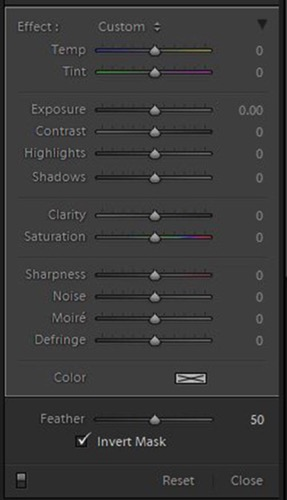 LR radial filter panel editing options 3