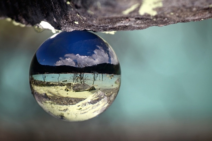 Natural landscape look great inside the ball. This is a volcanic lake found in Indonesia.