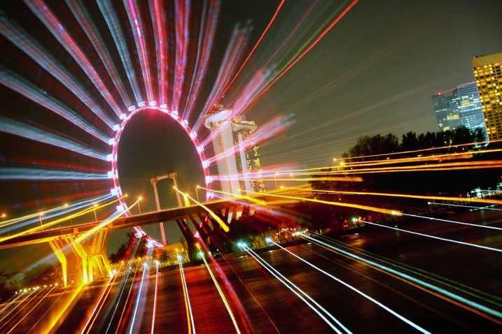 The ferris wheel is a great subject for zoom bursts. The middle is empty, and there is a ring of light to zoom out.