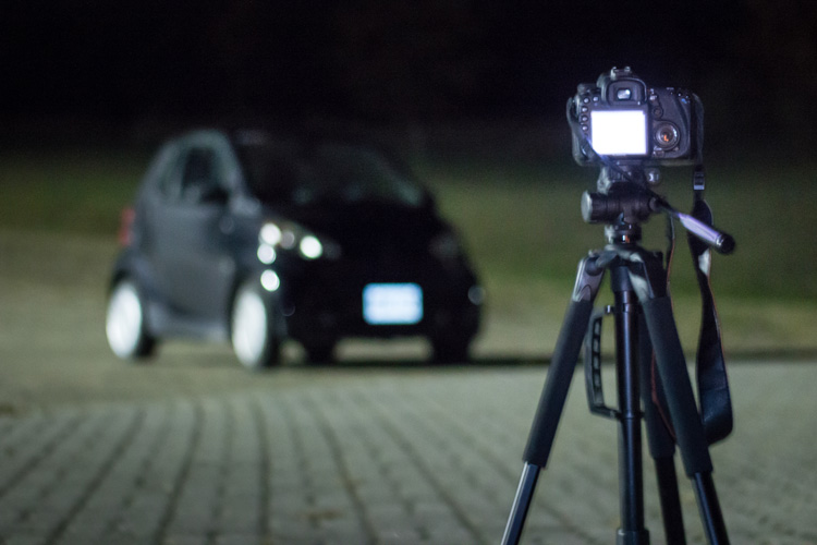 Behind the scenes of light painting car photography