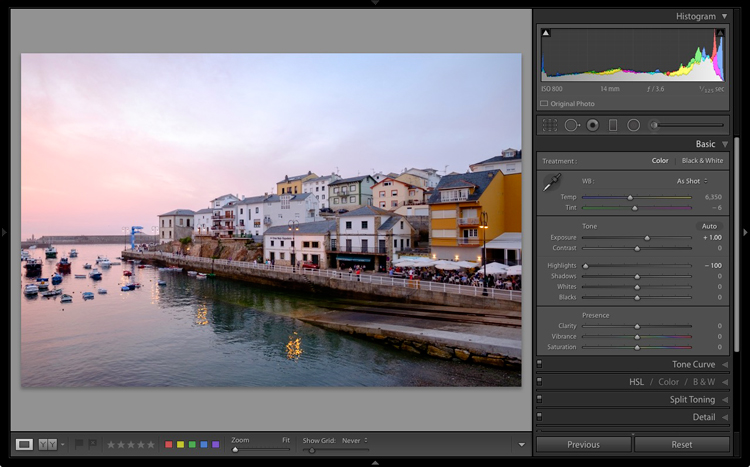 The Lightroom histogram