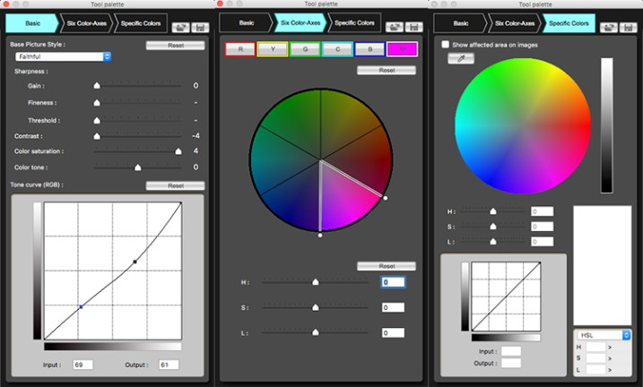 The three adjustment panels found in Canon Picture Style Editor - Customizing Your Images With In-Camera Picture Styles