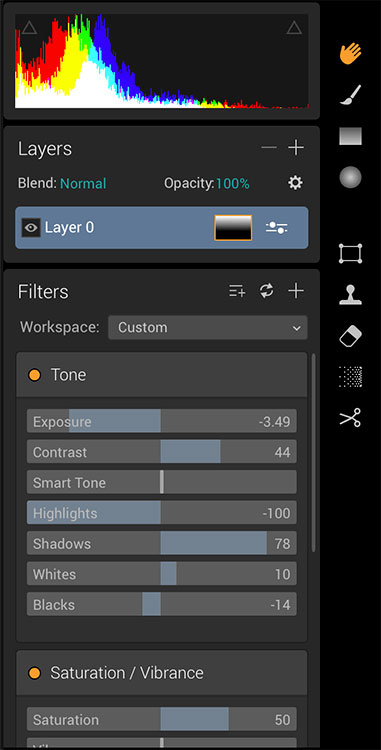 Image: Luminar sliders