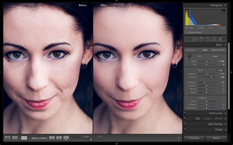 Portrait retouching in Lightroom