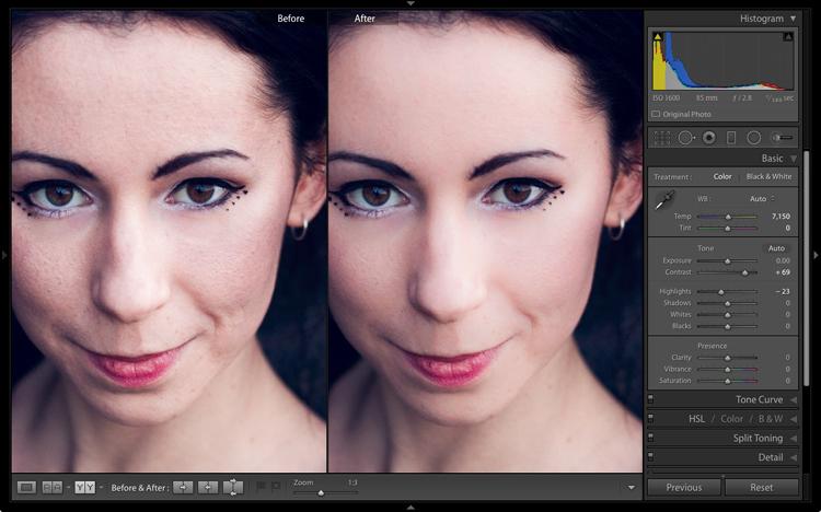 Portrait retouching in Lightroom