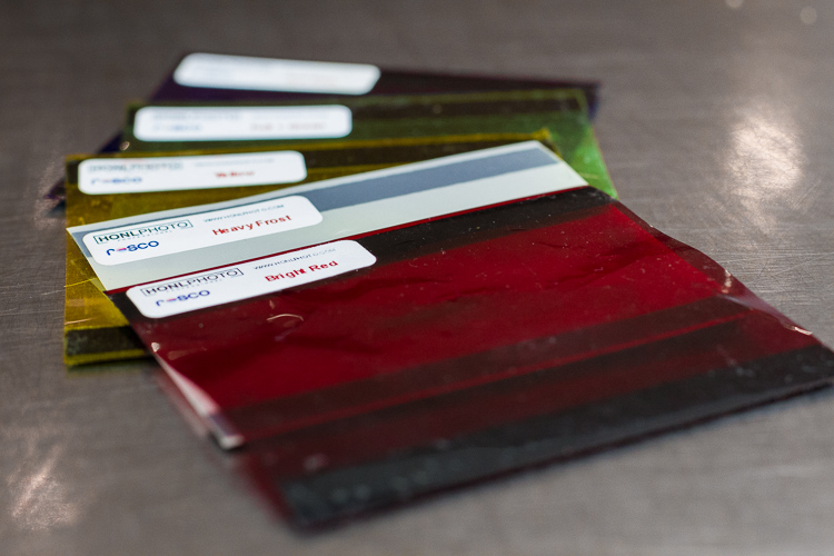 Examples of colored gels that can be used to modify the color of light from off-camera flashes