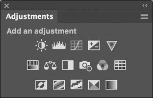 Adjustment Layers has it's own panel with 16 icons representing the different Adjustment Layers