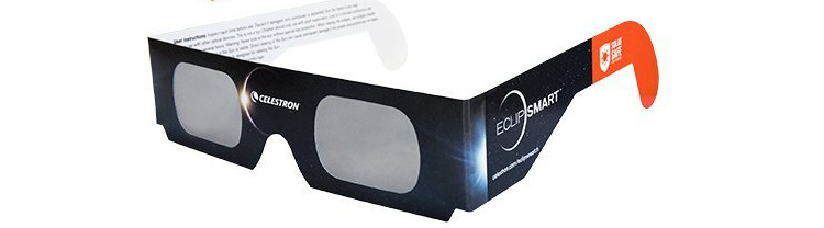Image: Solar glasses like these are required if you want to look directly at the eclipse as it begin...