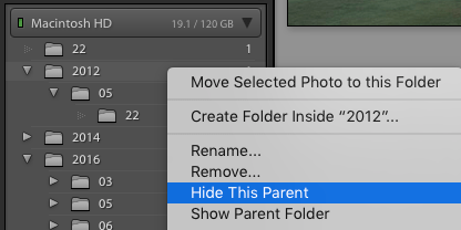 Show/Hide Parent Folder