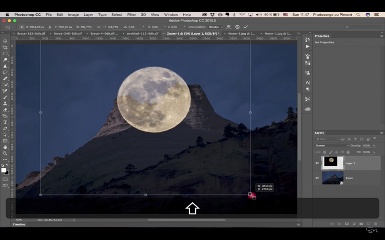 Add moon photoshop 11