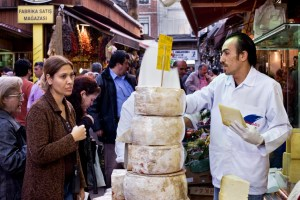 Vendor selling chees at the Istanbul spice market