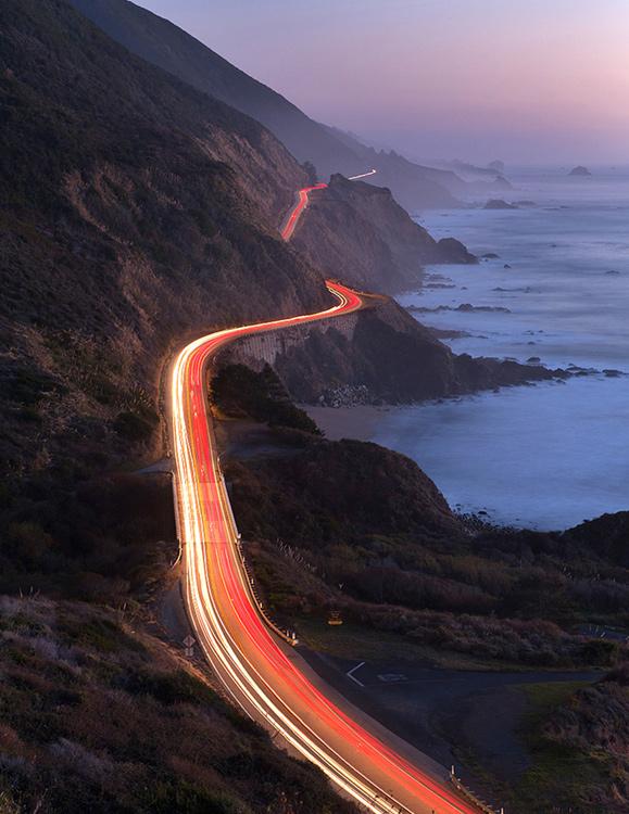 Big Sur light trail highway