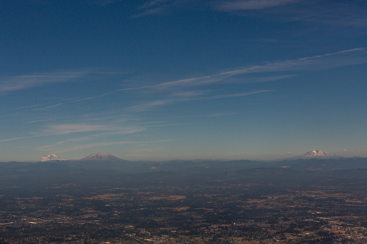 Portland Mountains from the flight - Tips for Taking Documentary Style Travel Photos