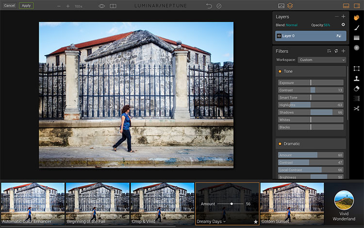 Choose adjustments in Luminar