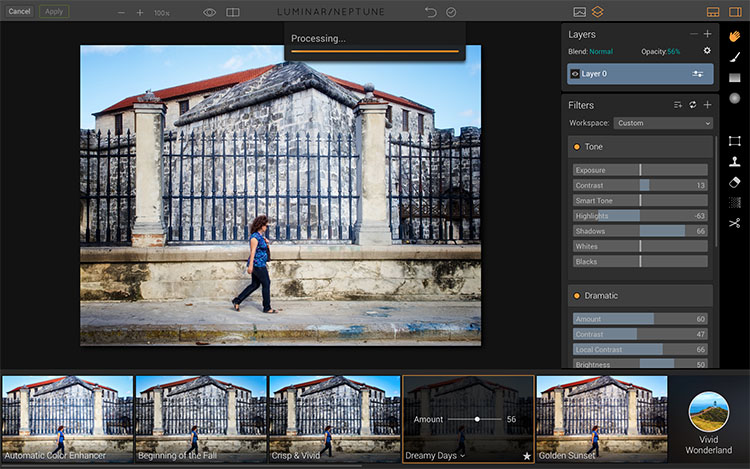 Click apply in Luminar