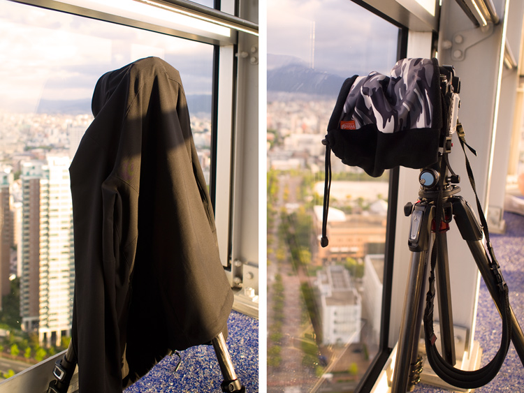 Jacket neck gaiter - Tips for Shooting Through the Glass Window of an Observation Deck at Blue Hour