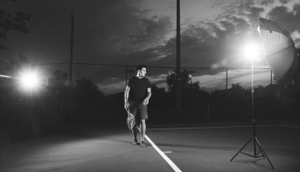 An example showing a cross lighting setup for a portrait of a tennis player