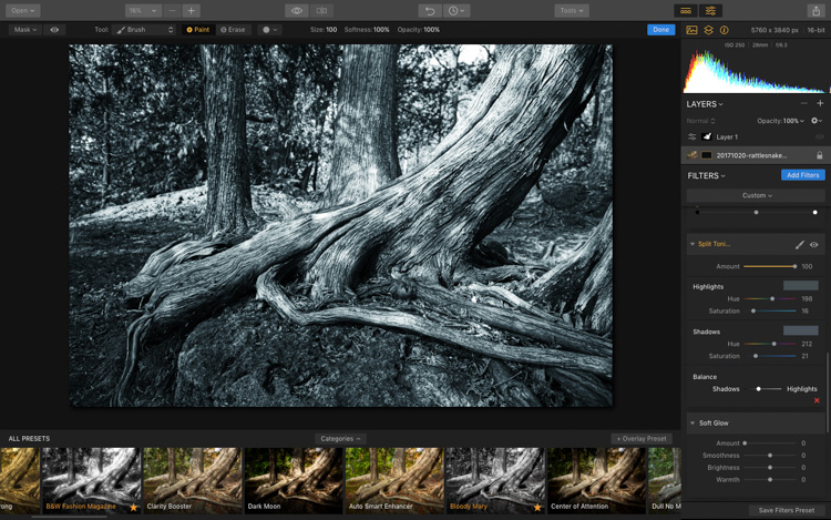 Image: Final Split Toning settings and look.