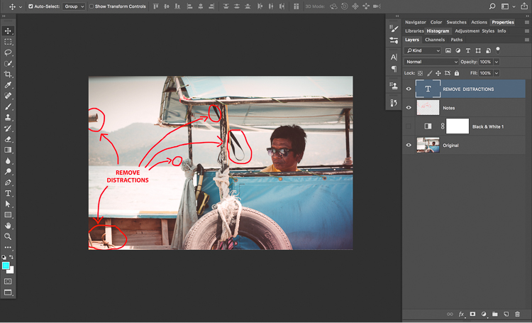6 Remove Distractions - How to Know What to do and Where to Start with Photo Editing in Photoshop