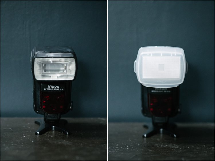speedlights with and without diffusers