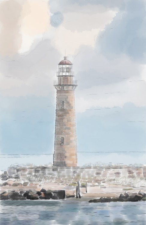How to Turn Your Photos into Painterly Style Watercolor Art - lighthouse